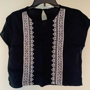 Black Crop Shirt with White Lace Design